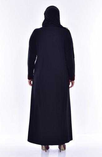 Übergröße Kleid mit Patchwork 4416-03 Schwarz 4416-03