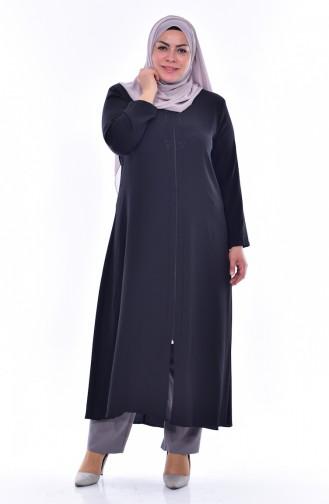 Large Size Stone Printed Zippered Abaya 1034-03 Black 1034-03