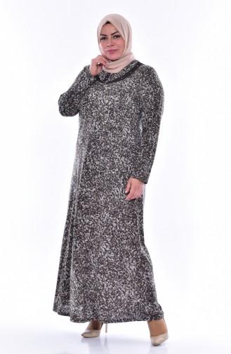 Robe a Motifs Grande Taille 4438C-05 Vison 4438C-05