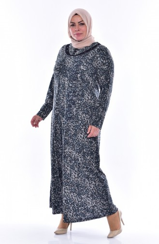 Robe a Motifs Grande Taille 4438C-04 Vert emeraude 4438C-04