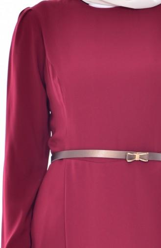 Kemerli Tunik Pantolon İkili Takım 0015-01 Bordo 0015-01