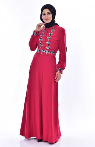 Embroidered Belted Dress 2706-02 Claret Red 2706-02