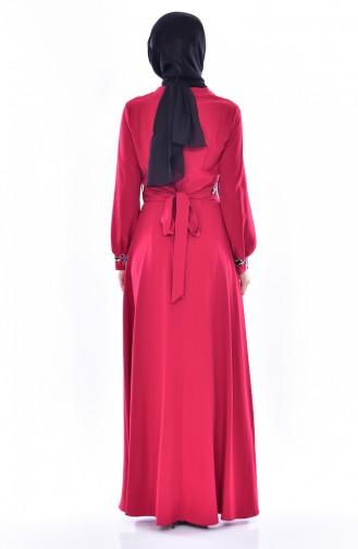 Nakışlı Kuşaklı Elbise 2706-02 Bordo 2706-02