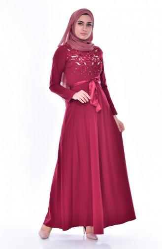 Kleid mit Stickerei 3319-05 Weinrot 3319-05