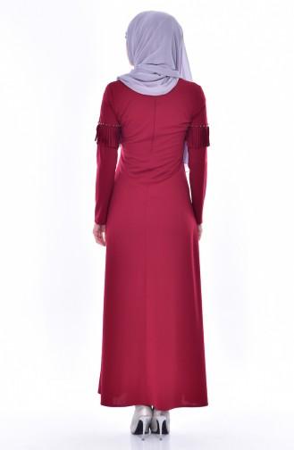 Perlen Kleid mit Fransen 4459-05 Weinrot 4459-05