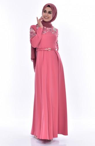 Nakışlı Kemerli Elbise 3289-04 Gül Kurusu 3289-04