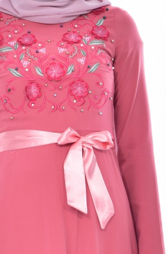 Embroidered Belted Dress 3319-06 Dried Rose 3319-06