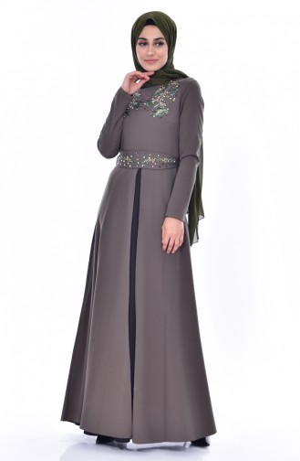 Nakışlı Garnili Elbise 3288-03 Haki 3288-03