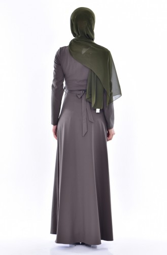 Khaki İslamitische Jurk 3288-03