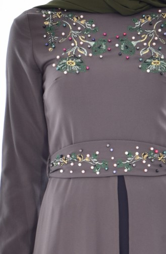 Patchwork Kleid mit Stickerei 3288-03 Khaki 3288-03