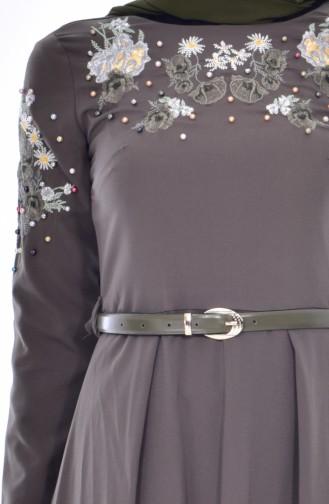 Nakışlı Kemerli Elbise 3289-05 Haki 3289-05