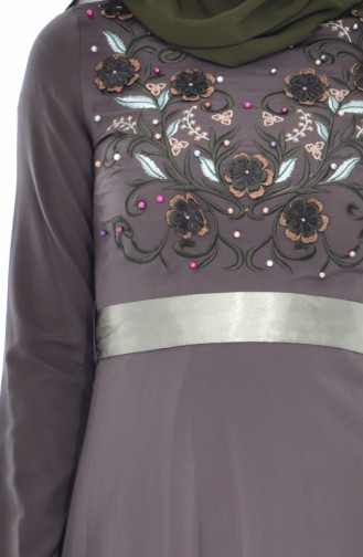 Embroidered Belted Dress 3319-04 Khaki 3319-04
