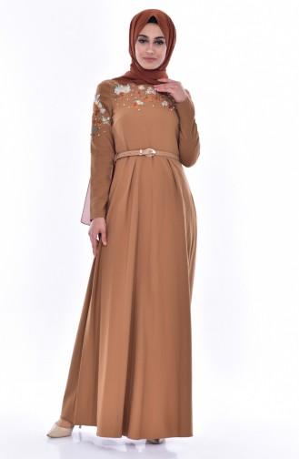 Kleid mit Stickerei 3289-02 Dunkel Senf 3289-02