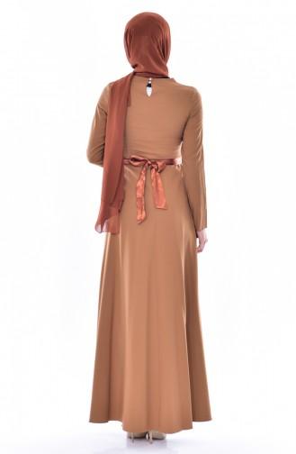Embroidered Belted Dress 3319-01 Dark Mustard 3319-01