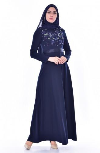 Nakışlı Kuşaklı Elbise 3319-03 Lacivert 3319-03