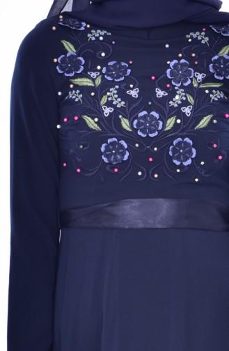 Kleid mit Stickerei 3319-03 Dunkelblau 3319-03