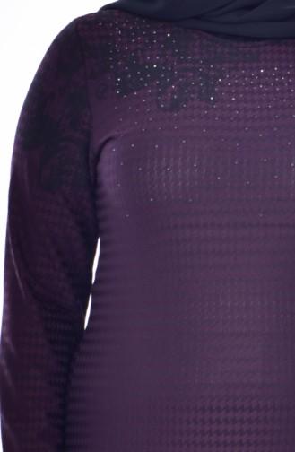 فستان مُطبع بأحجار لامعة بمقاسات كبيرة 4888A-03لون أرجواني 4888A-03