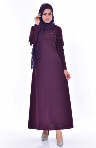 Perlen Kleid mit Fransen 4459-01 Zwetschge 4459-01