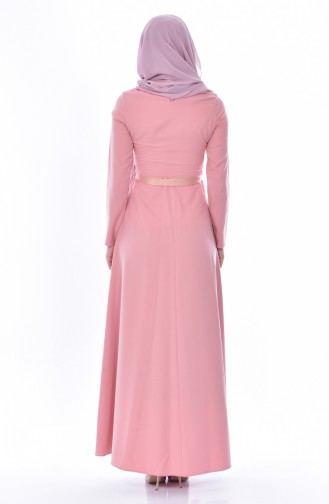 Embroidered Belted Dress 3319-02 Powder 3319-02