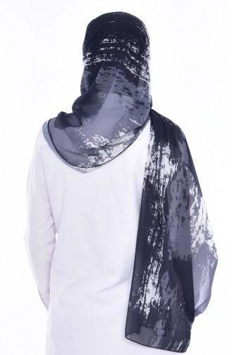 Desenli Şifon Şal 50274-01 Siyah Gri