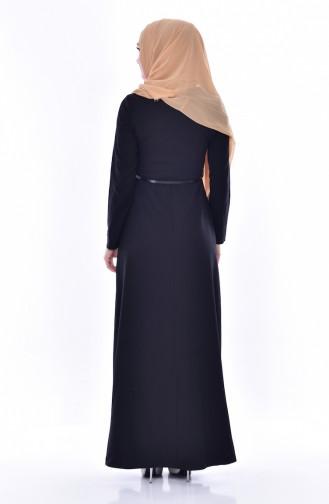 Robe a Ceinture et Broche 2937-01 Noir 2937-01