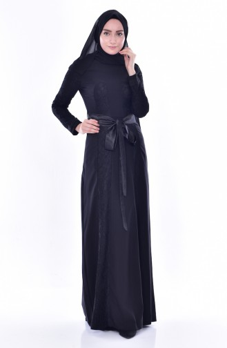 Lacy Belted Dress 2938-01 Black 2938-01