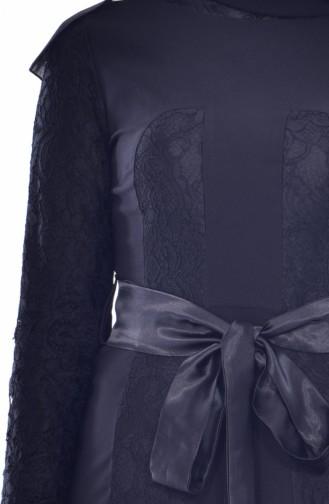 فستان بحزام خصر وتفاصيل من الدانتيل 2938-01 لون أسود 2938-01
