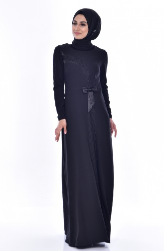 Kleid mit Schleifer 2940-01 Schwarz 2940-01