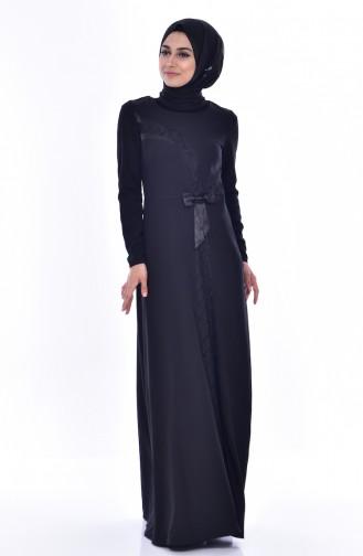 Fiyonklu Elbise 2940-01 Siyah 2940-01