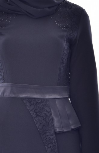 Dantelli Taşlı Elbise 2943-01 Siyah 2943-01