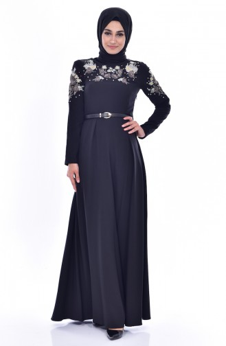 Embroideried Arched Dress 3289-03 Black 3289-03