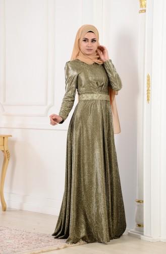 Merve Arslan Abendkleid mit Glitzer 0014-01 Grün 0014-01