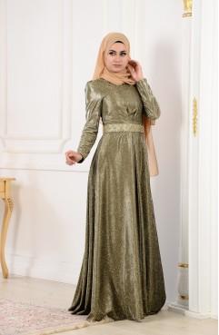 28378148c7fe7 فستان سهرة بتفاصيل لامعة 8143-03 لون رمادي 8143-03