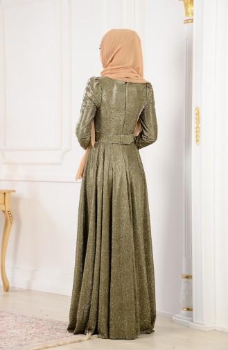 ميرف ارسلان فستان سهرة بتفاصيل لامعة 0014-01 لون اخضر 0014-01
