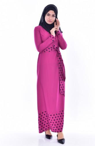 Puantiyeli Garnili Elbise 7188-03 Fuşya 7188-03
