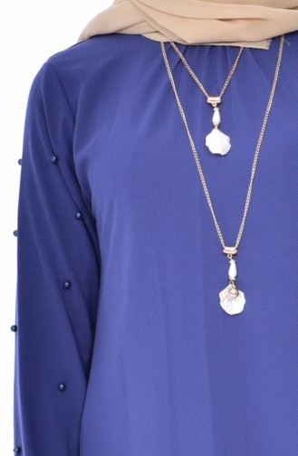 Pearls Asymmetrical Tunic 0789-12 İndigo 0789-12