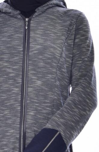 Hooded Zipper Cap   6015-03 Navyذ 6015-03
