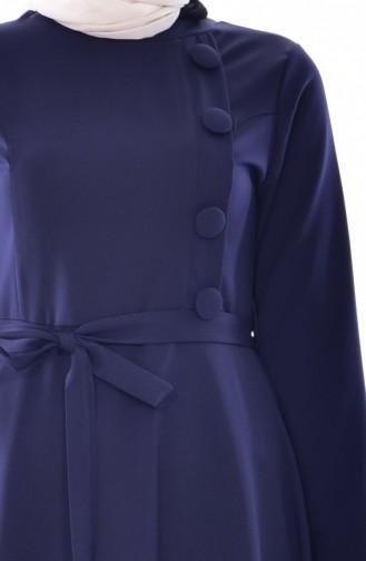 Kleid mit Gürtel 1089-01 Dunkelblau 1089-01