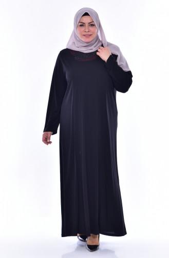 Robe İmprimée de Pierre Grande Taille 4492-01 Noir 4492-01