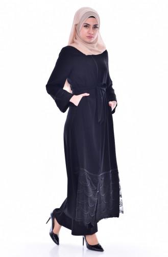 Abaya mit Spitzen 0181-01 Schwarz 0181-01