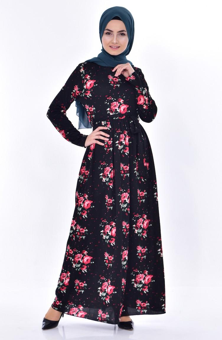 Motifs Et Noir A Robe Fleurs Rouge 5040 Ceinture 01 WEDH2I9Y