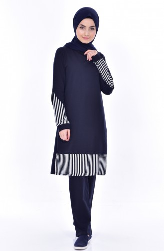 Sefamerv Striped Tracksuit Suit 0390-02 Navy 0390-02