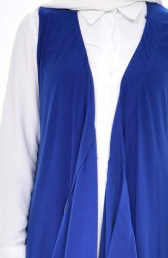 سترة بدون أكمام سادة بتصميم غير متماثل الطول 0211-01 لون أزرق 0211-01