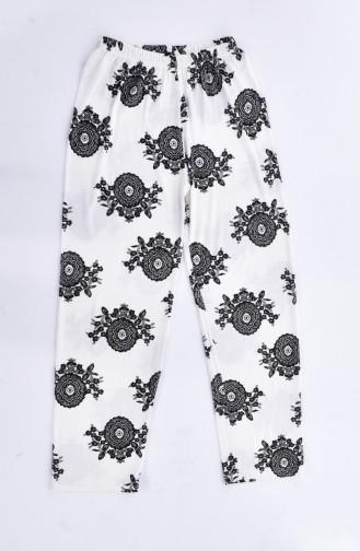 Ensemble Pyjama Pour Femme 0513K-01 Ecru Noir 0513K-01
