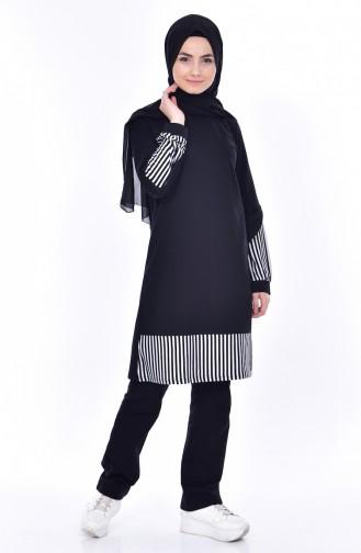 Sefamerv Striped Tracksuit Suit 0390-01 Black 0390-01