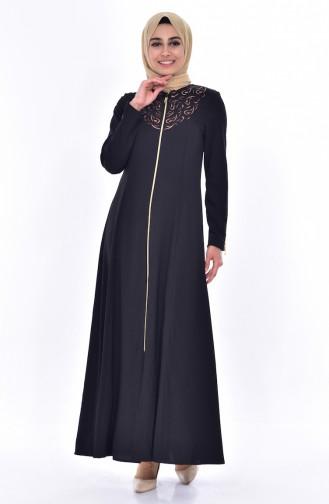 Abaya mit Reißverschluss 0146-01 Schwarz 0146-01