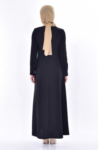 Zippered Abaya 0146-01 Black 0146-01