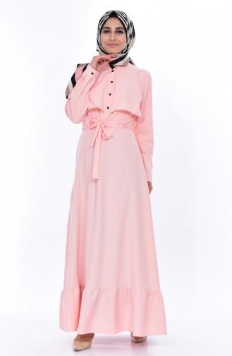 Allerli Kuşaklı Elbise 8026-01 Somon 8026-01