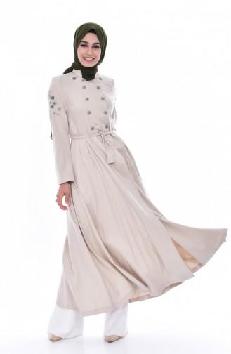 Hijab Mantel mit Stickerei 1054-01 Hell Beige 1054-01