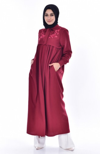 Abaya mit Stickerei 1053-01 Weinrot 1053-01